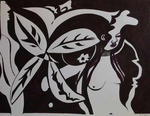 Leafy Girls in Black and White By Edward McLean